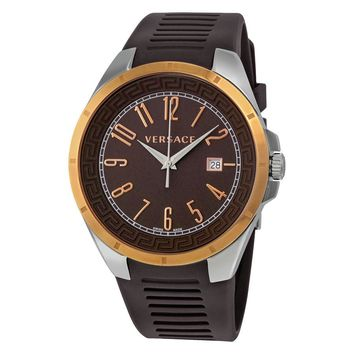 Versace V-Man Brown Dial Rubber Strap Mens Watch P7Q89D598 S497
