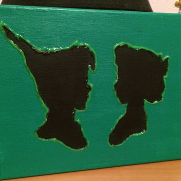 Disney's Peter Pan and Wendy Black Silhouette Painting (Glow in the Dark Outline)