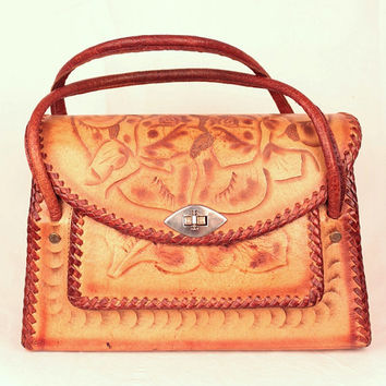 vintage tooled leather handbag // floral motif