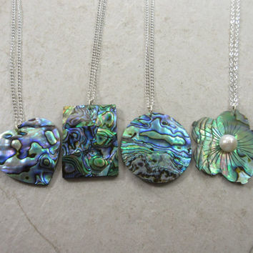 Abalone Shell Necklace, Paua Shell, Heart Abalone Necklace, Flower Abalone Necklace, Rectangle Abalone Necklace