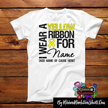 Personalize I Wear Yellow Ribbon Shirts For Endometriosis, Ewing Sarcoma and Spina Bifida Awareness