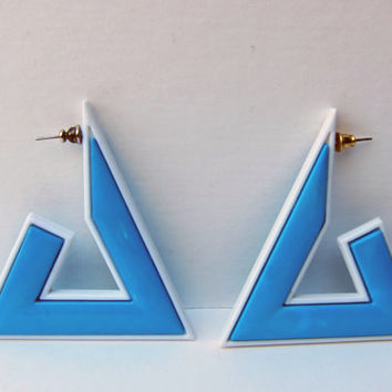 Vintage 1980s Triangle Earrings / 80s Oversized Earrings / Geometric Blue