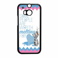 Olaf Quote Melting The Disney Frozen Pink Blue Chevron HTC One M8 Case