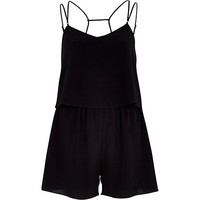 Black multi strap layered playsuit - playsuits / jumpsuits - vacation shop - women