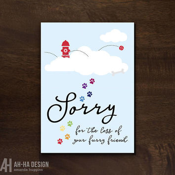 Pet Sympathy Printable Greeting Card | Dog Loss Digital Download Card | Pet Condolences Card | Loss Of Dog Rainbow Bridge Card