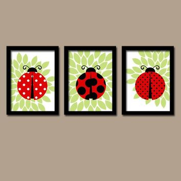 LADYBUG Wall Art, CANVAS or Prints Baby Girl Nursery Decor, Ladybug Decor, Girl Bedroom Wall Decor, Red Black Ladybug Decor  Set of 3 Art