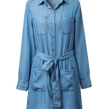 Blue Four Pocket Pointed Flat Collar Lapel Denim Trench Coat
