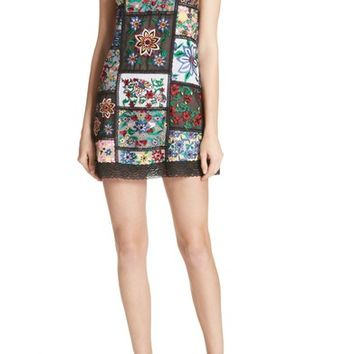 Alice + Olivia Marcelina Embroidered Mini Dress | Nordstrom