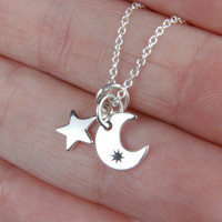 ON SALE Moon and Star Necklace - Tiny Sterling Silver Moon and Star Charm Necklace - Everyday Jewelry from Oakre