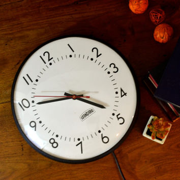 WORKING Vintage Standard Wall Clock, School House Clock, Large Wall Clock, Retro School Clock