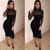 Black High Neck Long Sleeve Mesh Dress
