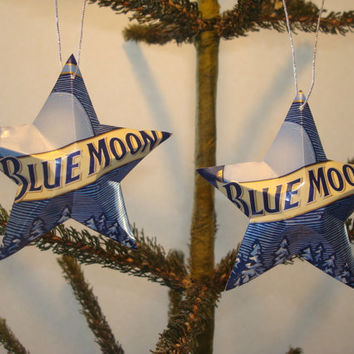 Recycled Blue Moon Beer Can Aluminum Stars - Set of 2 Christmas Ornaments