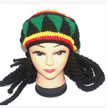 Rasta Beanies Knitted Hats Beret Crochet Cap With Dreadlocks Wigs