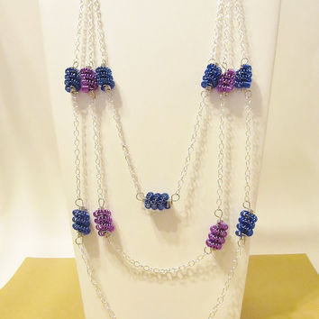 Wire Wrapped Necklace and Earring Set, Wire Tube Twist Bead Necklace, Advant Garde, Coil Wire Beads, OOAK