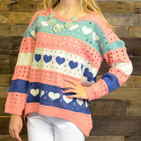 Heart Melter Pink Striped Sweater