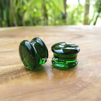 "Transparent Green Solid Color Glass Plugs 14g 12g 10g 8g 6g 4g 2g 0g 00g 7/16"" 1/2"" - 1"" 1.6 mm 2 mm 2.5 mm 3 mm 4mm 5 mm 6 mm 8 mm - 25 mm"