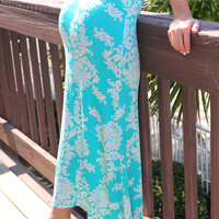 Maui Sunrise Tropical Floral Print Teal Maxi Skirt