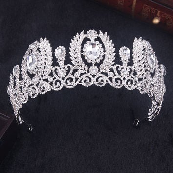 hot sell new fashion white crystal crown Bride Tiara wedding hair jewelry pearl big hoop Hair accessories Beauty Crown