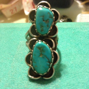 Turquoise Navajo Ring SIZE 5 Sterling Silver 925 Kingman Genuine Southwestern Jewelry Gift Blue Vintage Tribal Indian Native American Huge