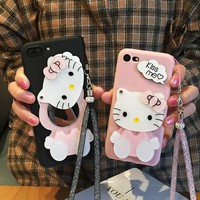 For samsung galaxy note 9 Mirror case Cartoon Hello Kitty Soft Phone Cases For SAM s9/ s9 plus matte back cover + Strap