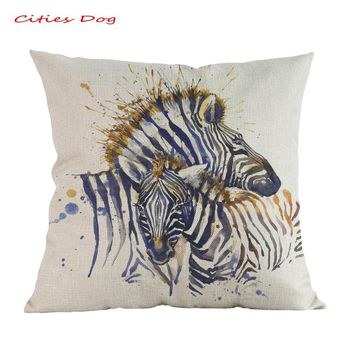 Animal Colorful zebra watercolor Color Painting pillow cushion cojines decorativos para kussenhoes Linen almofada pillowcase