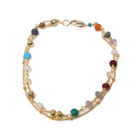 Double Chain Layering Bracelet - Multi Color Stone Beads