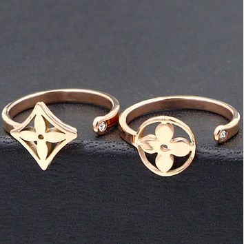 LV fashion simple accessories girlfriends gift personalized rose gold open ring
