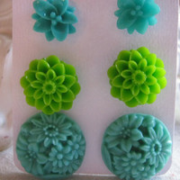 Set of 3 Blue / Green Teal Floral Earring Studs