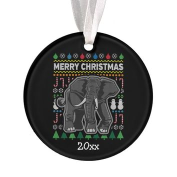 Elephant Ugly Christmas Sweater Wildlife Series Ornament