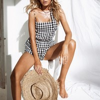 Lyric Gingham Playsuit - Playsuits by Sabo Skirt
