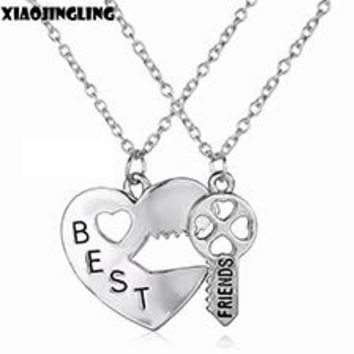 Double Chain Best Friend Broken Heart Key Pendant Necklace