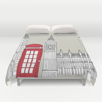 London Red Telephone Box Duvet Cover by Bluebutton Studio