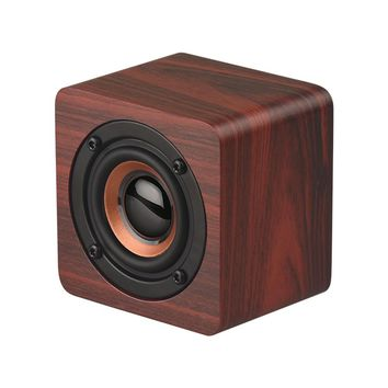 Mini Wooden Bluetooth Speaker Portable Wireless Subwoofer Strong Bass Sound Box Music Magic Cube for Smartphone Tablet Laptop