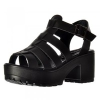 Onlineshoe Cut Out Gladiator Platform Summer Sandals - Chunky Cleated Sole Block Heel - Black, White, Pink, Silver, Gold - Onlineshoe from Onlineshoe UK