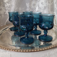 Imperial Blue Kings Crown Thumbprint Cordial Wine Goblets, Vintage Set Of Six Iridescent Indiana Glass Goblets