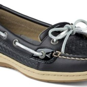 Sperry Top-Sider Angelfish Woven Slip-On Boat Shoe BlackWovenLeather, Size 12M  Women's Shoes