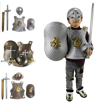 Children Kids Knight/Gladiator Dress-up Costume Armor+Shield+Sword+Helmet Warrior