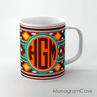 Southwestern tribal decorative design monogrammed mug