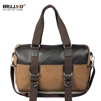 Wellvo Casual Canvas Travel Tote Men Large Patchwork Duffle Fashion Crossbody Shoulder Bags Trip Luggage Handbag bolsa XA134WC