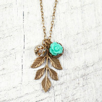 Leaf Pendant and Flower Necklace