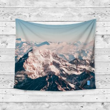 """Snow Cap"" White Mountain Caps Wall Tapestry"