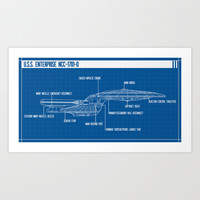 ENTERPRISE NCC-1701-D Art Print by BadOdds