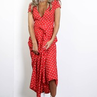 In The Air Red Polka Dot Maxi Dress