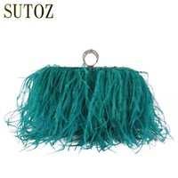 Fashion Ostrich Feather Lady's Handbag Women's Pouch Messenger Bags Clutch Evening Bag Purse Diamond Fur Clutch Handmade BA379