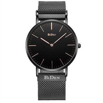 ONETOW BIDEN Watch Mens Women Luxury Stainless Steel Magnetic Mesh Milanese Bracelet Waterproof Watch