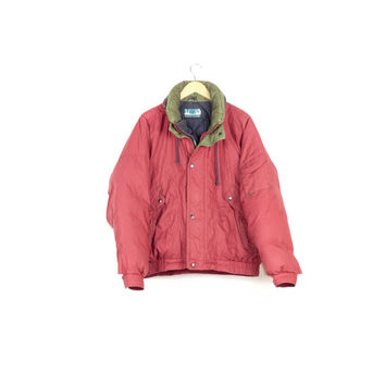 retro down jacket / vintage 1990s / 90s parka / retractable hood / military / outdoors / hiking / gear / red olive green / mens medium
