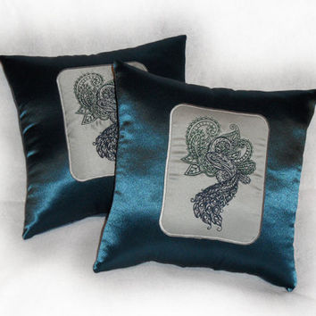 Mendhi Peacock throw pillow (Set of 2) in teal blue 14x14 inch decorative pillows