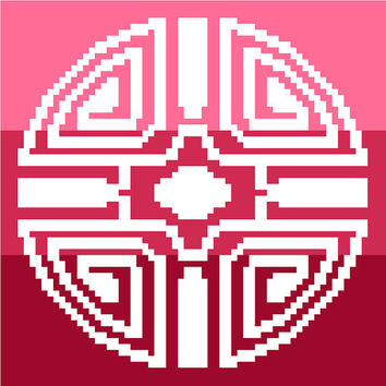 Oriental style medallion in negative silhouette against pink stripes. Modern cross stitch. Contemporary cross stitch pattern.