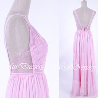 Straps V Neck Pink Long Chiffon Pink Bridesmaid Dresses, Prom Dresses, Pink Evening Gown, Wedding Party Dresses, Formal Gown