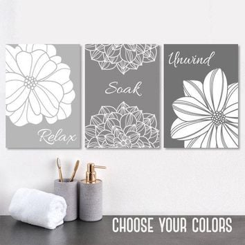 Gray BATHROOM Wall Art, Bathroom Canvas or Prints Gray Ombre Bathroom Wall Decor, Bathroom Quote Pictures, Relax Soak Unwind, Set of 3